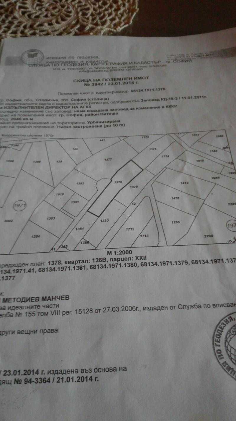 Продажба Парцел гр. София - Драгалевци 2050m²